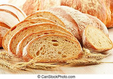 komposition, hos, loafs, i, bread, isoleret, på hvide
