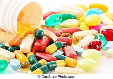 komposition, hos, mangfoldighed, i, medicin, pillerne, og,...