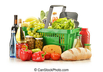 komposition, med, specerier, produkter, in, handling korg