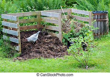 kompost, samička, zahrada, pracovní