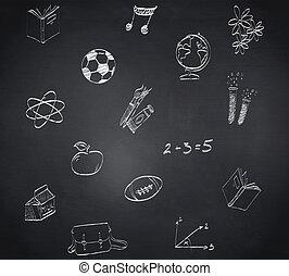 kompozitní podobenství, o, škola, doodles