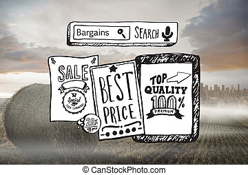 kompozitní podobenství, o, prodávat v malém, prodej, doodles