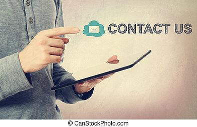 kompress, över, oss, kontakta, dator meddelande