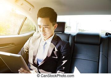 kompress, bil, ung, morgon, pc, affärsman, användande