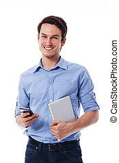 kompress, rörlig telefonera, holdingen, digital herre, lycklig