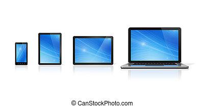 kompress, ringa, mobil, laptop, pc, digital