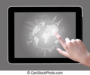 kompress, teckning, toucha, resa, pc, omkring, värld, hand