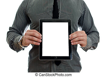 kompress, visande, screen., isolerat, pc, tom, toucha, vita skärma, man