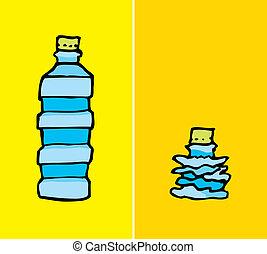 komprimerad, flaska, plastisk