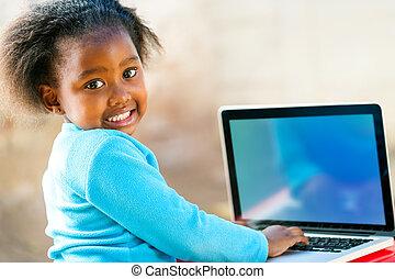 komputer, afican, nauka, dziecko