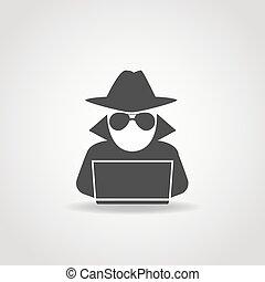 komputer, anonimowy, ikona