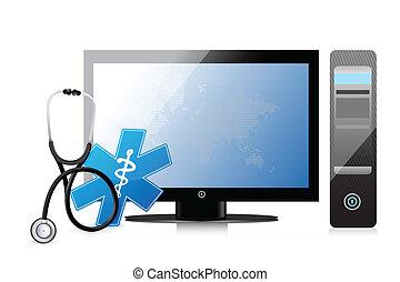 komputer, app, medyczny