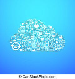 komputer, chmura, ikona