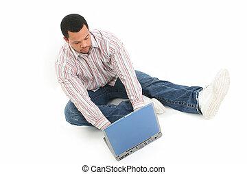 komputer, człowiek, podłoga