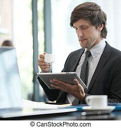 komputer, człowiek, tabliczka, handlowy