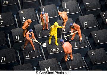 komputer, figurki, pracownik, klawiatura