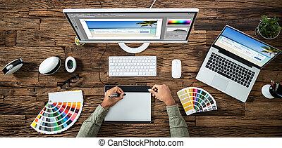 komputer, fotografia, projektant, edycja