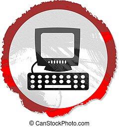 komputer, grunge, znak