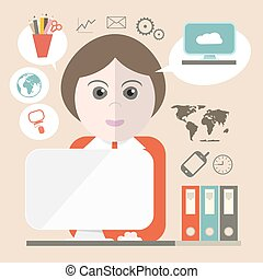 komputer, handlowe ikony, ilustracja, wektor, sekretarka