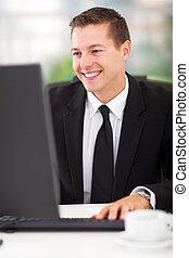 komputer, handlowy, pracujący, człowiek