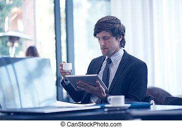 komputer, handlowy, tabliczka, człowiek