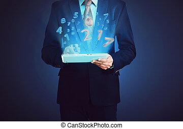 komputer, handlowy, tabliczka, liczba, dotykanie, 2017, człowiek