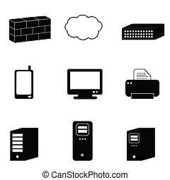komputer, i, sieć, ikony
