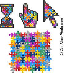 komputer, illustration., kolor, wibrujący, zagadka, wektor, cursors.