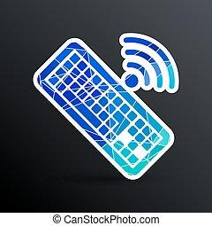 komputer, illustration., znak, wektor, klucz, klawiatura, ikona