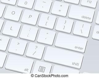 komputer, image., do góry, ilustracja, tło., wektor, zamknięcie, biały, keyboard.