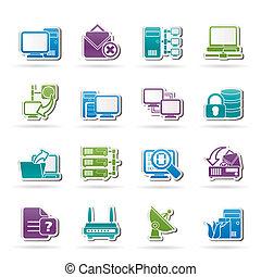 komputer, internet, sieć, ikony