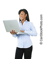 komputer, kobieta, laptop, uśmiechanie się