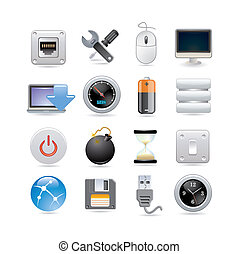 komputer, komplet, ikona