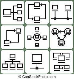 komputer, komplet, sieć, ikony