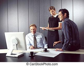 komputer, ludzie, pracujący, handlowy