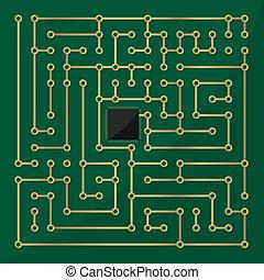 komputer microchip, labirynt