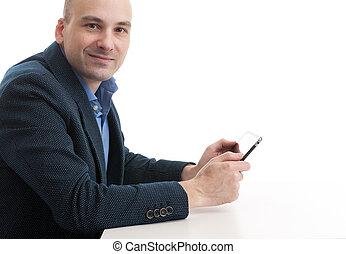 komputer, tabliczka, człowiek