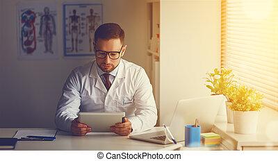komputer, tabliczka, doktor