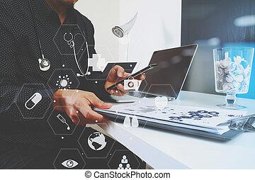 komputer, tabliczka, pracujący, doktor, medyczny, nowoczesny, telefon, drewno, stetoskop, cyfrowy, biurko, biuro, laptop, mądry