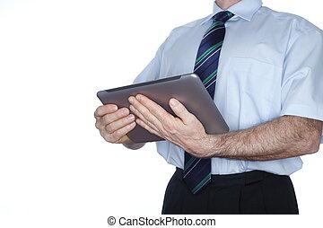komputer, tabliczka, ręka