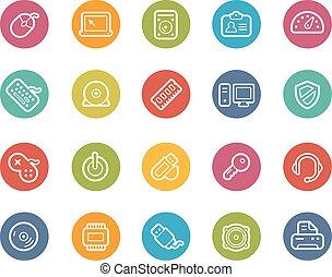 komputer, urządzenia, ikony