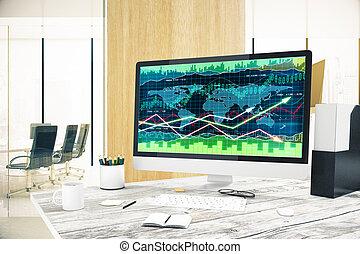 komputer, z, forex, wykres