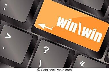 komputer, zwycięstwo, guzik, klawiatura, ilustracja, wektor, klucz