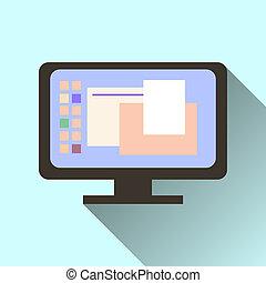 komputerowa ikona, odizolowany, ekran, długi, cień, pomarańcza, tło.