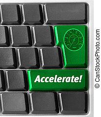 komputerowa klawiatura, z, zielony
