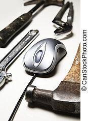 komputerowa mysz, i, stary, narzędzia