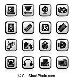 komputerowa strona, urządzenia, ikony