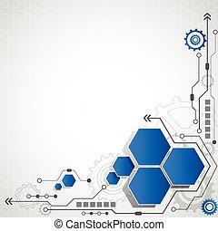 komputerowe obchodzenie, handlowy, abstrakcyjny, ilustracja, wysoki, wektor, tło, technologia, futurystyczny
