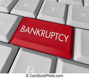 komputerowy klucz, bankructwo