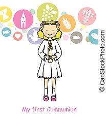 komunia, dziewczyna, pierwszy